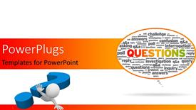 PowerPoint template displaying question sign falling over the human character, Speech bubble with the word questions