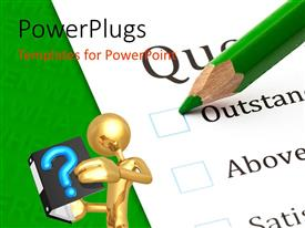 PowerPlugs: PowerPoint template with questionnaire check boxes with green crayon close-up and human character reading a book, green color