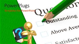 PowerPoint template displaying questionnaire check boxes with green crayon close-up and human character reading a book, green color