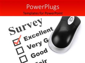 PowerPoint template displaying questionnaire and computer mouse close up with feedback options