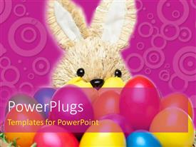 PowerPlugs: PowerPoint template with a rabbit with a lot of colorful balloons and purple background