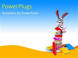 PowerPlugs: PowerPoint template with a rabbit with a number of books