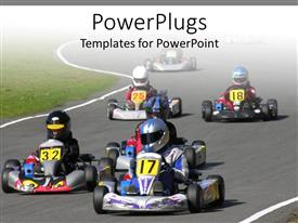 PowerPlugs: PowerPoint template with some race cars moving on a plain tarred road