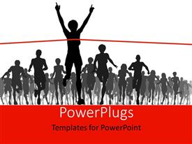 PowerPlugs: PowerPoint template with a race with one person crossing the finishing line
