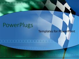 PowerPoint template displaying a race track flag with greenish background