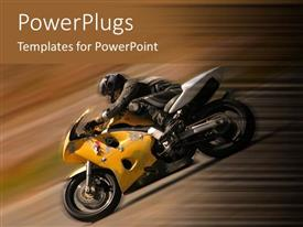 PowerPoint template displaying racer on yellow motorcycle with motion blur