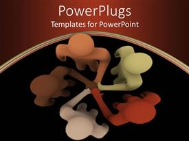 PowerPlugs: PowerPoint template with racially diverse people coming together as a team on brown and black background