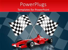 PowerPoint template displaying racing flags in background with red formula one car