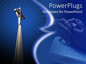 PowerPlugs: PowerPoint template with radiant church steeple cross, praying hands with rosary beads, Bible, religions, Christianity