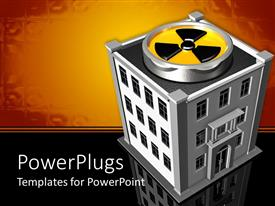 PowerPoint template displaying a radiation symbol being placed on top of a building with golden background