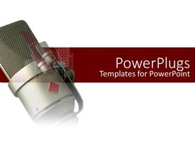 PowerPoint template displaying a radio microphone with a white and red background