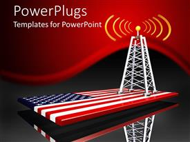 PowerPlugs: PowerPoint template with radio tower along with American flag in the bottom