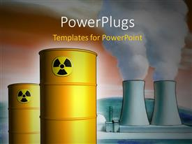 PowerPlugs: PowerPoint template with radioactive waste from a nuclear power plant