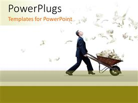 PowerPlugs: PowerPoint template with rain of dollar bills with business man pushing a barrow filled with money