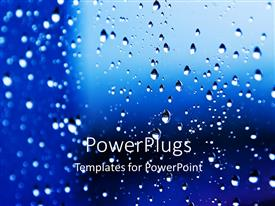PowerPlugs: PowerPoint template with rain drops on widow pane with blue background