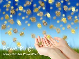 PowerPlugs: PowerPoint template with rain of golden coin falling down from blue sky