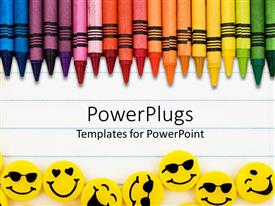 PowerPoint template displaying rainbow color crayons and yellow erasers with faces on lined paper background