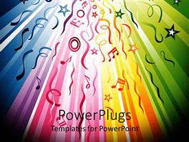 PowerPlugs: PowerPoint template with rainbow colored lines flowing from the back to the front with colorful music notes and stars, ribbons and streamers circles