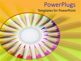 PowerPlugs: PowerPoint template with rainbow colored pencils arranged in a circle