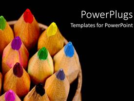 PowerPlugs: PowerPoint template with rainbow of colored pencils on black background