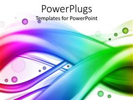PowerPlugs: PowerPoint template with rainbow colored wavy swirling bands on white background with colorful bubbles