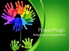 PowerPlugs: PowerPoint template with rainbow colors of flowers made into palm print