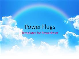PowerPlugs: PowerPoint template with rainbow linking two clouds on blue sky