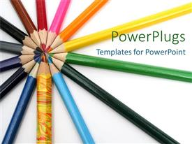 PowerPlugs: PowerPoint template with rainbow of multicolored pencils on white background