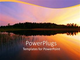 PowerPlugs: PowerPoint template with rainbow sky with tall trees and reflection in river