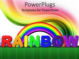 PowerPlugs: PowerPoint template with rainbow with text lettering, colored swirl, green line border, white background