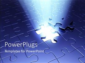 PowerPlugs: PowerPoint template with a ray of shinning through a removed puzzle hole