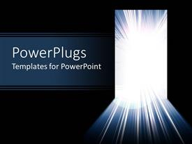 PowerPlugs: PowerPoint template with ray of white shinning light through a door with black background