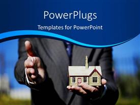 PowerPlugs: PowerPoint template with real estate agent holding 3D house in hand gestures for handshake