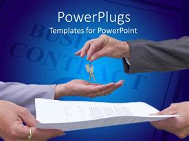 PowerPlugs: PowerPoint template with real estate business contract with hands exchanging keys and contract