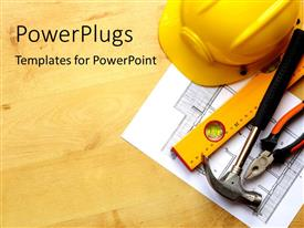 PowerPlugs: PowerPoint template with real estate concept with hard hat blueprints tools and wooden texture
