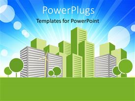 PowerPlugs: PowerPoint template with real estate concept vector art design with building in green and blue sky in background