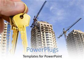 PowerPlugs: PowerPoint template with real estate depiction with hand holding gold key over construction site