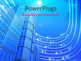 PowerPlugs: PowerPoint template with real estate exchange in blue with world map
