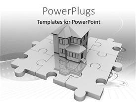 PowerPlugs: PowerPoint template with real estate house standing on jigsaw puzzle with abstract grey design