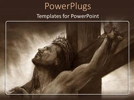 PowerPlugs: PowerPoint template with the realistic painting of Jesus being crucified