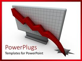 PowerPlugs: PowerPoint template with a recession graph with white background