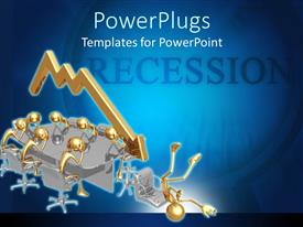 PowerPlugs: PowerPoint template with recession theme with sad gold people at board room table, gold downward trend arrow