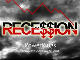 PowerPoint template displaying the recession word with clouds in the background