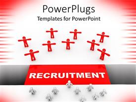 PowerPlugs: PowerPoint template with recruitment concept with human dummies stretching their hands wide open