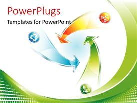 PowerPlugs: PowerPoint template with recycle Arrow vector environment resource concept with green curves