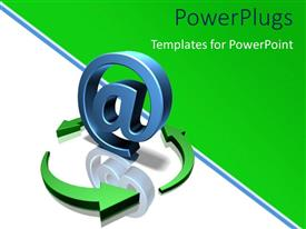 PowerPoint template displaying recycle symbol around large blue 3D email symbol with reflection in background