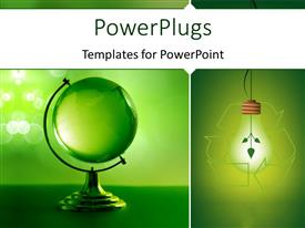 PowerPoint template displaying recycle symbol round light bulb with green glass globe