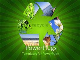 PowerPlugs: PowerPoint template with recycle symbol showing grass, water, sky, flowers, green striped background