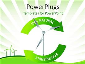PowerPlugs: PowerPoint template with recycle wind turbine with keywords and green curves