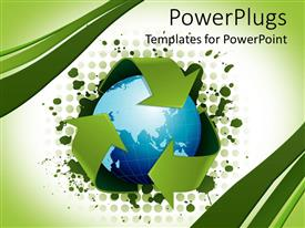 PowerPlugs: PowerPoint template with recycling concept with globe surrounded by three green arrows representing recycling